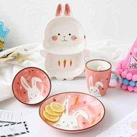 1pc Animal Zoo Dinner Plate Rabbit Bowl Mug Dinnerware Ceramic Porcelain Baby Children Tableware Bear Feeding Dish T200107