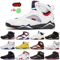 Çorap Erkekler Kadınlar Ile Basketbol Ayakkabıları 2021 Üst Moda Jumpman 7 7 S PSGS Oregon Ördekler Ray Allen Tavşan Beyaz Kapalı Eğitmenler Sneakers Spor Olimpiyat Boyutu 36-47