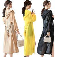 Women's Jackets Spring Korean Women Long Shawl Coat Long-sleeve Fashion Hooded See-through Chiffon Thin Open Stitch Summer Jacket Y564