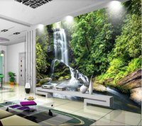 Wallpapers Papel De Parede Waterfall And Flowing Water Dream Forest 3d Wallpaper Mural,living Room Tv Wall Bedroom Papers Home Decor