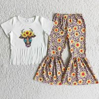 Wholesale Kids Designer Clothes Sets Boutique Toddler Baby Girls Clothing Fall Bell Bottom Pants Sunflower Cow Print Fashion Kid Children Outfits Short Sleeve Set