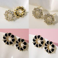 Stud Trendy Korean Style Ladies Inlaid Round White Zircon Crystal Flower Female Earrings For Women Party Jewelry Accessories