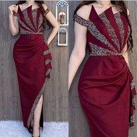새로운 도착 Burgundy 아랍어 이브닝 드레스 여성 파티 크리스탈 구슬 Caftan Dubai Evening Gowns Vestidos de Noche