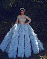 Princess A Line Evening Dresses Luxury Star Sequined Beads Long Sleeve Ruffles Fluffy Prom Marriage Special Occasion Gowns robes de soirée