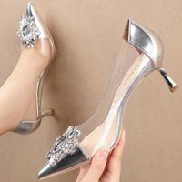 Dress Shoes 2021 Dimensioni 34-40 Donne 6 cm tacchi alti bassi punta a punta Eden dorato glitter bling fibbia scarpins da festa