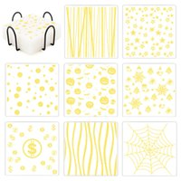 Clear Silicone Coaster Square Non-slip Coffee Table Drinks Mat 10CM Cup Pad with Gold Stripe Star Dot Print Christmas Style Gift Bar Tools and Accessory