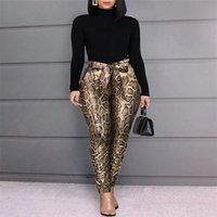 Women's Pants & Capris Hirigin Autumn Women Stretch Pencil Slim PU Leather Print Trousers Skinny High Waist Leggings