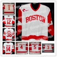 Boston Terriers Collège Hockey 36 John Curry 14 Jekabs Redlihs 11 Dan Spang 1 Stephan Siwiec 3 Ryan Whitney 12 Brad Zancanaro Jerseys pas cher