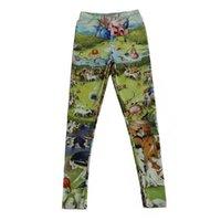 Мода крошечные люди роспись женщин леггинсы печатают тонкий подходит тонкие эластичные полиэфирные партиубийские штаны случайные брюки падение
