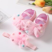 First Walkers Born Infant Baby Girl Shoes +Headband Set Soft Sole Bowknot Princess Cute Shoe Toddler Walking 0-18M Prewalkers