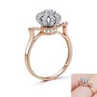 Corona creativa anello rotante per la femmina rosa oro colore tiara anelli cz regalo ragazza promessa fidanzamento gioielli da sposa