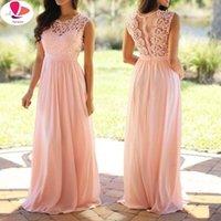 Vintage Lace Patchwork Long Dress Plus Size S-5XL Wedding Bridesmaid Party Maxi Robe Femme 2021 Vestidos Pink Casual Dresses