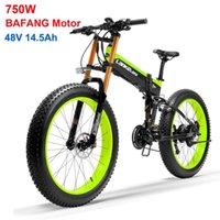 Vélo électrique de haute qualité 26 pouces pliant pliante E-vélo, moteur de 750W Bafang, vélo de graisse 48V, suspension complète