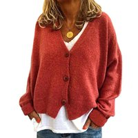 Женские трикотажные тройники BHFLUTTER 2021 Cardigan женщины мода пуговицы на v шеи вязаный свитер свободный рукав осень зима кардиганов Gile