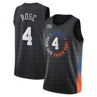 Derrick 4 Rose RJ 9 Barrett New YorkKnicks.Jersey Patrick 33 Ewing Julius 30 Randle Basketball Jerseys 2021 Swingman City Black Edition S-XXL