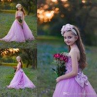 Vestidos de menina Halter Lavender Cristais Frisado Girls Girls Vestidos com arcos de cetim tule varra trem flor para o casamento do bebê parte