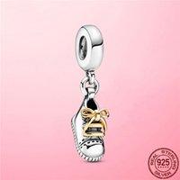 2021 925 Sterling Silver Baby Shoe Dangle Charm Pendant fit Original Pandora Bracelet Necklace DIY 925 Silver Jewelry Gift