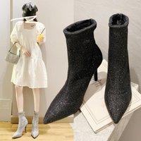 Beyaz Ayak Bileği Çizmeler kadın Kauçuk Ayakkabı Yağmur Lüks Tasarımcı Çizmeler-Kadınlar Düşük Hosty Yüksek Topuk Moda Çorapları Bayanlar1