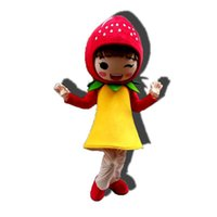 Simulation Strawberry Girl Mascot Costume Halloween Christmas Fancy Party Dress Cartoon Character Suit Carnival Unisex Adults Outfit
