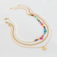 Pendant Necklaces PuRui Y2K Rainbow Beads Flower Choker Necklace For Women Bohemia Pearl Beaded Snake Chain With Coin Set On Neck