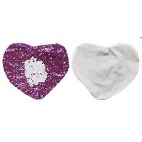 Meerjungfrau Kissenbezug Doppel Farbe Pailletten Liebe Herz Kissenbezüge Sublimation Leere Mode Kissenlip BWE7102