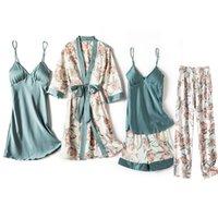 Women's Sleepwear Print Flower Sexy Sleep Set Women Satin Nighty&Robe Suit Kimono Bathrobe Gown Intimate Lingerie Homewear