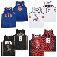 Movie 6 Drake Basketball Jersey OVO MSG NYC With Owl HipHop SO FAR GONE HipHop Red Black Blue White Team Color Breathable Pure Cotton Sport Shirt Excellent Quality