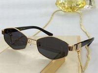 496 Gafas de sol gris dorada Gafas de oro Cadena de oro Vidrios de moda solos Soles Occhiali da Suela UV400 Eyewear de protección con caja