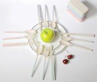 Draagbare tarwe stro vork bestek set opvouwbare opvouwbare eetstokjes lepel met doos picknick camping reizen servies set zc1139 351 R2