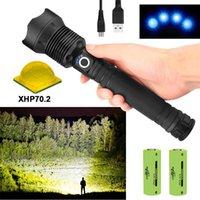 250000lumens XHP70.2 Most Powerful LED 18650 26650 USB Torch XHP70 XHP50 Cree Lantern For Hunting Camping Fishing Flashlights Tor Torches