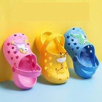 0-7 Yıl Çocuklar Katır Kıçları Yaz Bebek Erkek Kız Croc Sandalet Düz Topuklu Katı Karikatür Terlik Çocuk Bahçe Ayakkabı Y17 Q0112