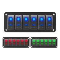 On-off Rocker Anahtarı Paneli Su Geçirmez LED Toggge 12/24 V 6 Deniz Tekne Karavan ATV Parçaları Için Çete