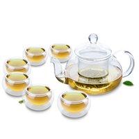 7in1 Conjunto de chá de vidro clássico - Bule w / Infuser + 6 Parede Dupla Pequena xícara de chá