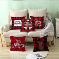 Cuscini di Natale Coperture Red Plaid Elk Throw Pillow Case Quadrato Divano Fodera Plaid Plaid Stampa Couch Cuscino Copertura natale OWF5908