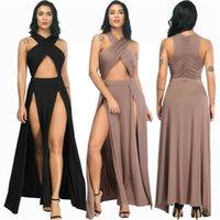 جديد وصول مثير أسود غير النظامية انقسام ضمادة فستان طويل 2020 أزياء المرأة الصيف فساتين عارضة فساتين امرأة حزب ليلة اللباس vestidos