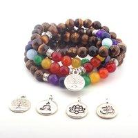 108 Pulseira natural do tigre-olho 108 Colar Lotus Pingente Buddha Beads Bracelet Colar Direto de vendas