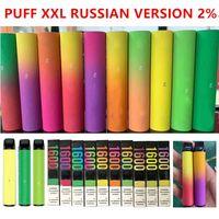 12 colores Dispositivo vape de vape de vape de pluma Dispositivo de vapo XXL cigarrillos 1000mAh batería 6.5ml cartuchos 1600 puffs precargada versión rusa 2%