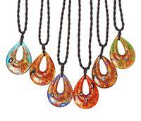 패션 워터 드롭 목걸이 6 색 혼합 컬러 램프 워크 유리 펜던트 무라노 매력 여성용 선물 보석