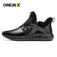 OneMix Hommes Hiver Casual Chaussures Gardez des bottes chaudes Sneakers en cuir étanche Sneakers en plein air Slip sur Chaussures à pied Bottines à chevilles adultes