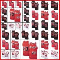 NCAA MJ 23 Michael Retro Jersey Dennis 91 Rodman Scottie 33 Pippen Stripes ChicagoNess 1995 1996 MenbJersey de basquete de touros