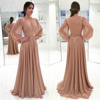 Chiffon Long Sleeves Evening Dresses For Party Guests Robe De Soiree Vestido Gowns