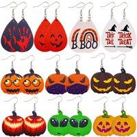 Newest Halloween Earrings Lightweight Drop Dangle Pumpkin Skull Double-Sided Printing Faux Leather Ear For Women Holiday Jewelry