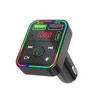 F2 شواحن بلوتوث السيارة FM الارسال اللاسلكي يدوي استقبال الصوت كيت TF بطاقة مشغل MP3 3.1a المزدوج USB PD شاحن سريع مع الإضاءة الخلفية الصمام الملونة