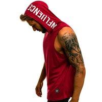 Men's Tank Tops Men Hoodies Top Sleeveless Muscle Gym Sport Slim Vest Bodybuilding Hooded Hip Hop Streetwear Workout Elastic