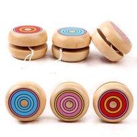 مزيج اللون 50 قطع الاطفال خشبية ماجيك يويو بالجملة سلسلة جولة الكرة تدور ألعاب المهنية للأطفال
