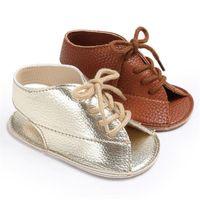 Sandálias Bebê Lace Up Nascido Menino Menino Menino Primeiro Walker Pu Couro Sofe Sole Sola Anti-Slip Criança Ouro Brown Casual Sapatos