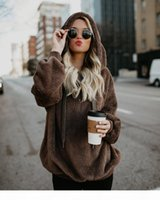 10 color Faux Fluffy Teddy Hooded Sweaters Women Drawstring Faux Fur Pullover Jumpers Ladies Zipper Autumn Winter Sweater Female