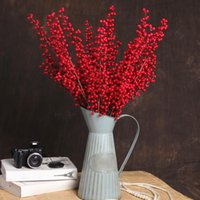 Decorative Flowers & Wreaths Fortune Fruit Artificial Flower Ornaments Dried Living Room 65CM Foam Simulation Plant Red Berry Branch