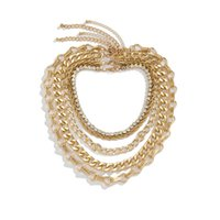 Yamog Punk Thick Twist Cross Chains Necklaces Full Diamond Hollow Out Metal Clavicle Chain Link European Women Multi Layer Hip Hop Neck Jewelry Accessories Gold