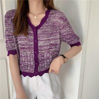 Women Summer V Neck Hollow Out Knitted Sweater Cardigans Casual Female Single Breasted Short Sleeve Purple Tops Women's Knits & Tees